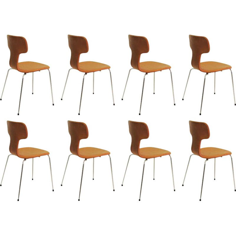 Set of 8 vintage T Chairs or Hammer Chairs Arne Jacobsen 1960s
