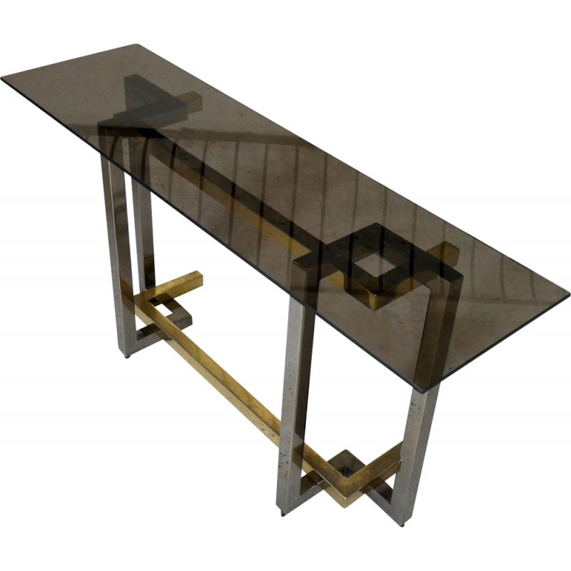 Large vintage console in chromed steel and brass plated steel, 1970 smoked glass slab