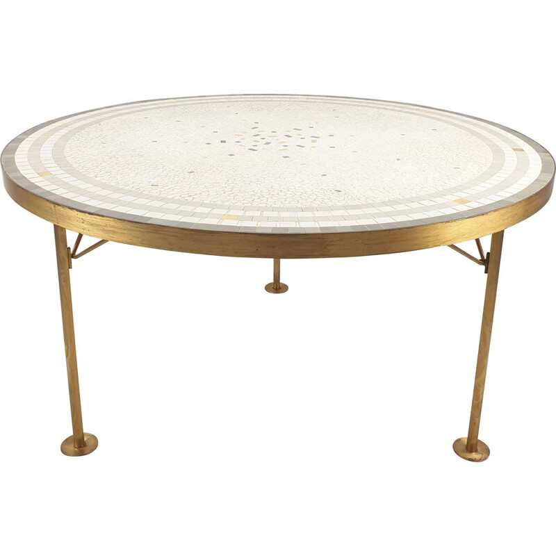 Vintage round mosaic coffee table with brass by Berthold Müller, 1950's