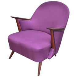 Purple armchair with teak structure - 1950s