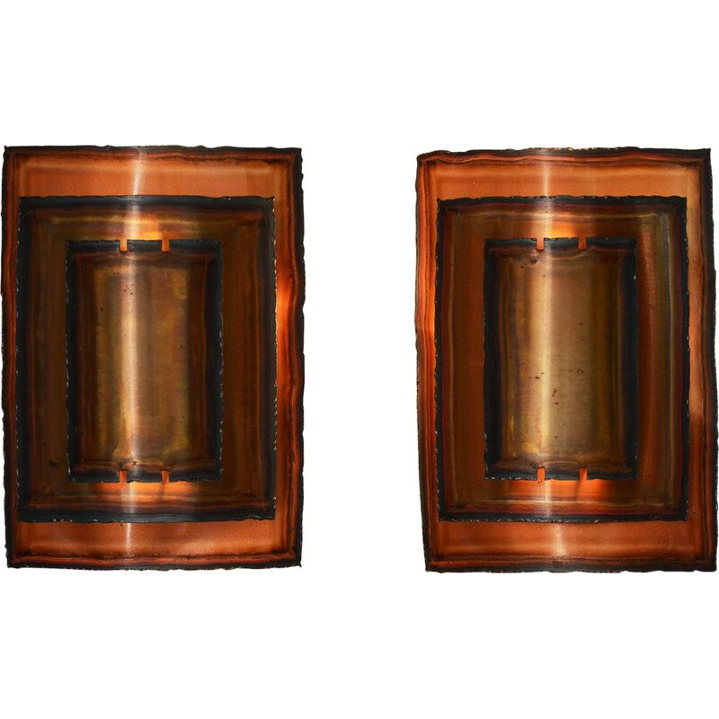 Pair of Vintage Copper wall lights by Werner Schou for Coronell Elektro Denmark 1960