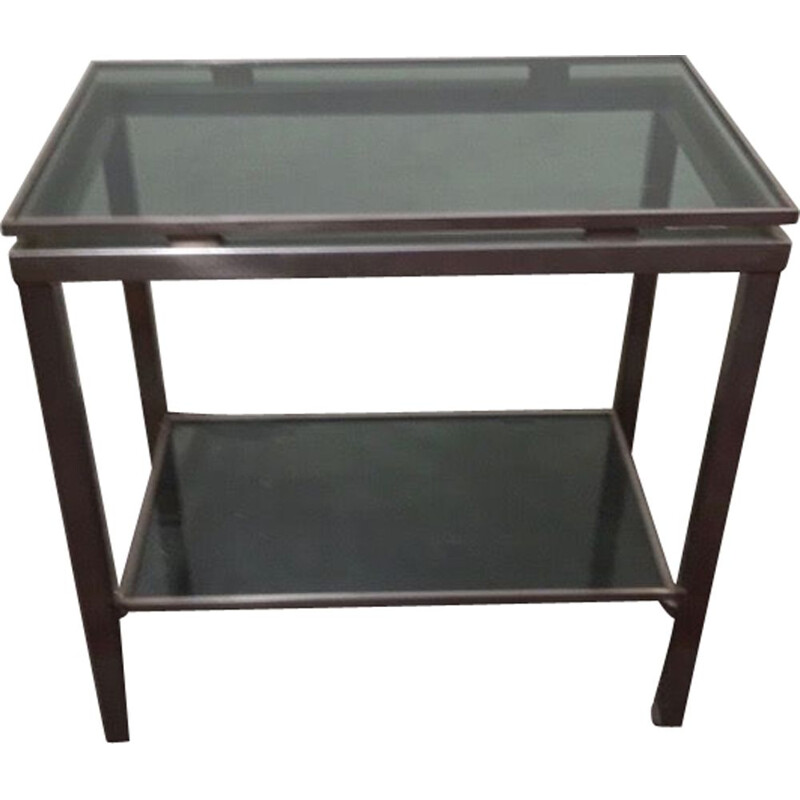 Vintage Brushed Steel and Glass Console by Guy Lefevre for Maison Jansen, 1970