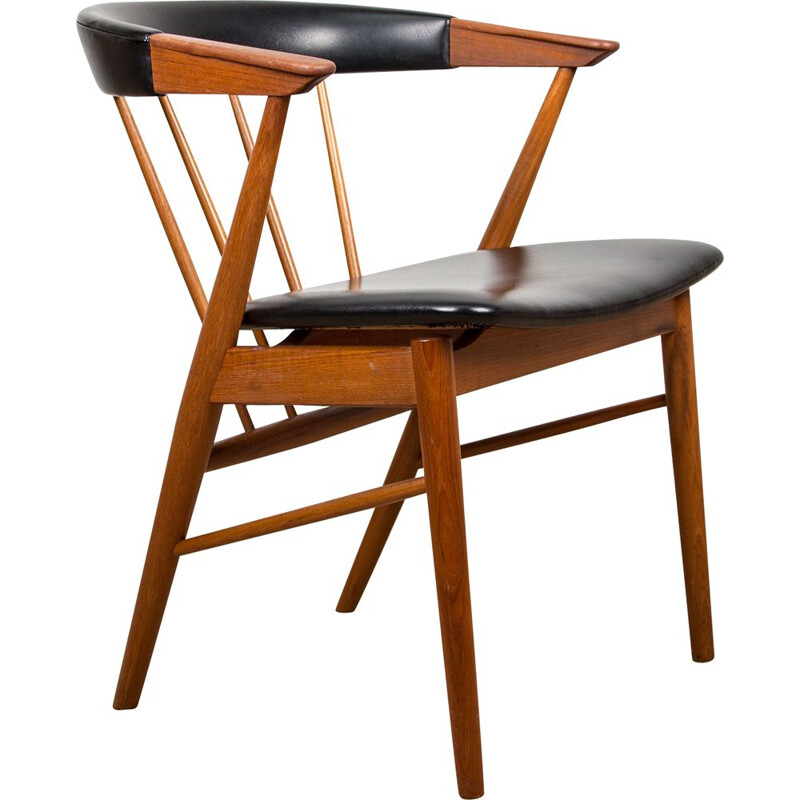Vintage teak office armchair by Helge Sibast Danish 1955