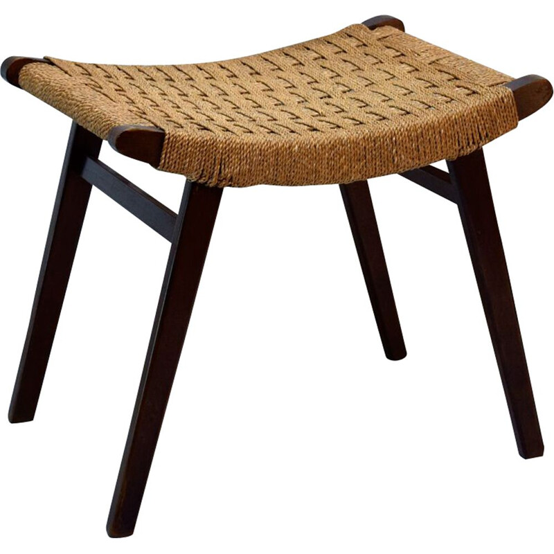 Vintage ottoman stool with braided rope from Dutch Gispen 1940