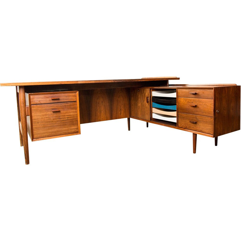 Large vintage executive desk in Rio Rosewood, model 208 by Arne Vodder for Danish Sibast