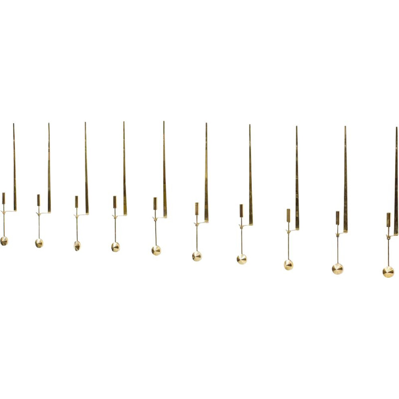 Set of 10 vintage 'Pendulum' Brass Candlesticks by Pierre Forssell 1960