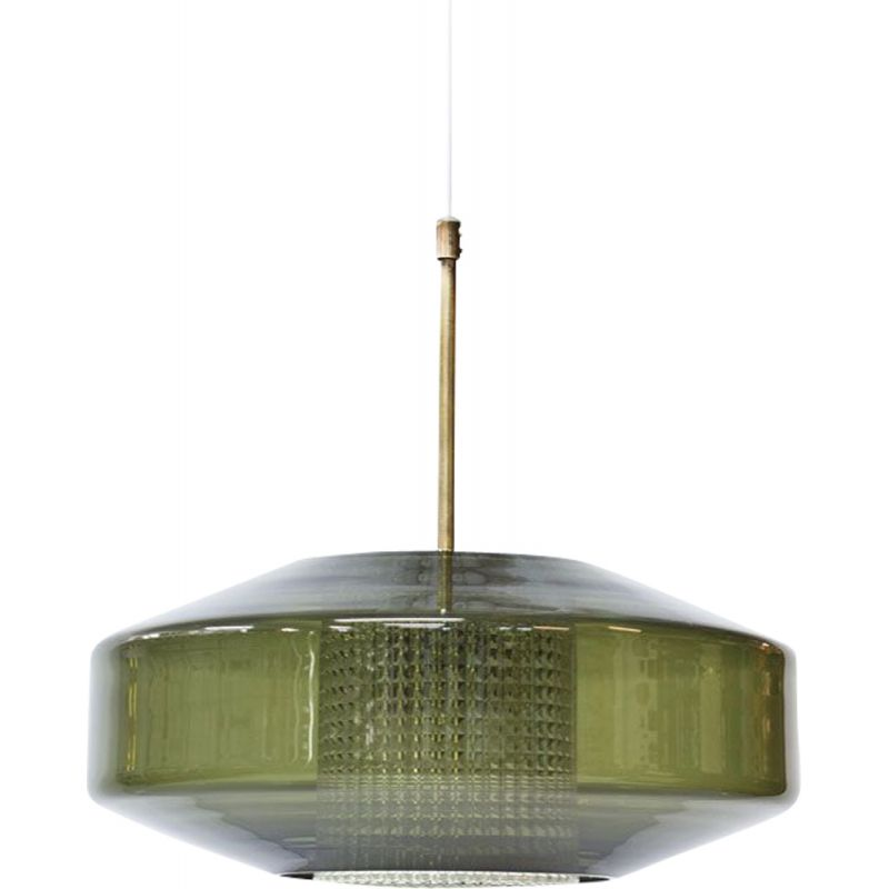 Vintage Pendant Lamp Brass and Glass by Carl Fagerlund for Orrefors 1960