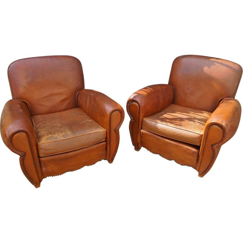 Pair of vintage leather club armchairs 1930
