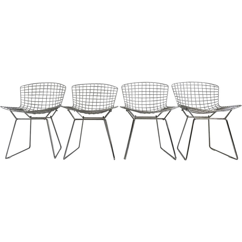 Set of 4 Vintage Chrome Bertoia Side Chairs from Knoll 1980