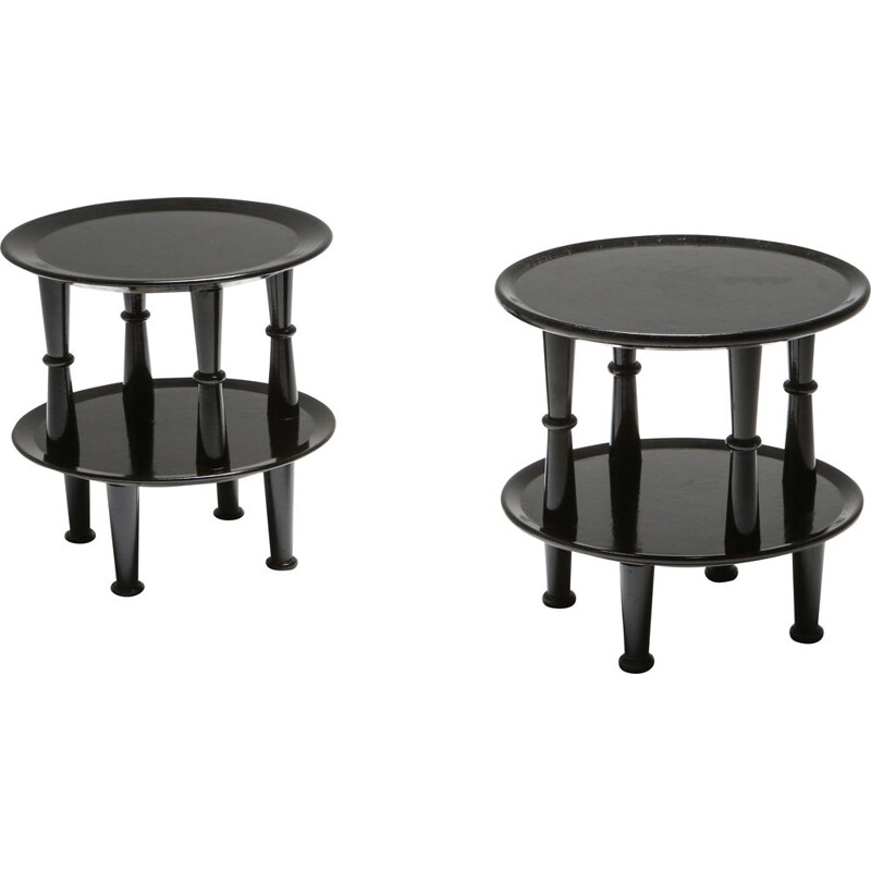 Pair of Vintage Side Tables Black Lacquer  1970s