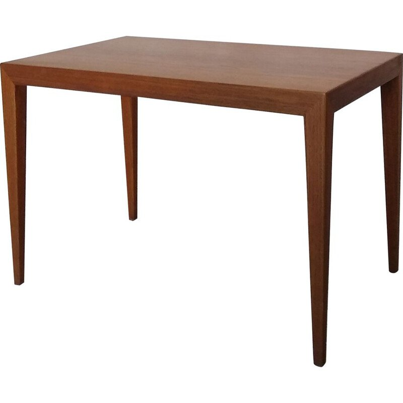Vintage side coffee table Teak by S. Hansen for Haslev, Denmark, 1960s