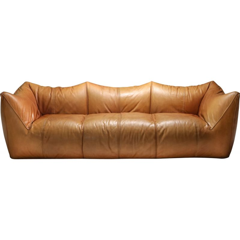 Vintage 3-Seat Couch in Tan Leather Mario Bellini 'Le Bambole' 1970s