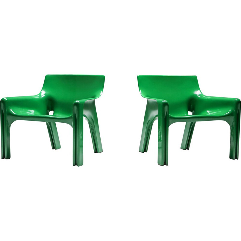 "Pair of Vintage Armchairs  ""Vicario"" Green Magistretti 1970"