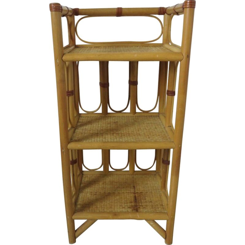 Vintage rattan, leather and bamboo shelf 1960