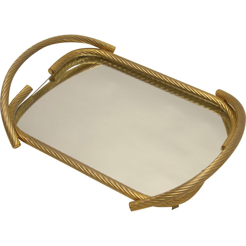 Vintage Golden Cable Tray with mirror French 1950s