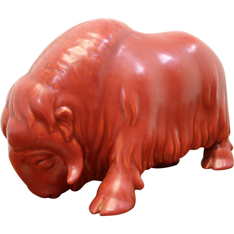 Vintage red glazed image of a buffalo by S.v lindhart ceramic denmark