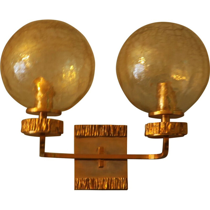 Vintage Wall Light with Gold Overlay, Angelo Brotto for Isperia Brass and Glass Double 1970