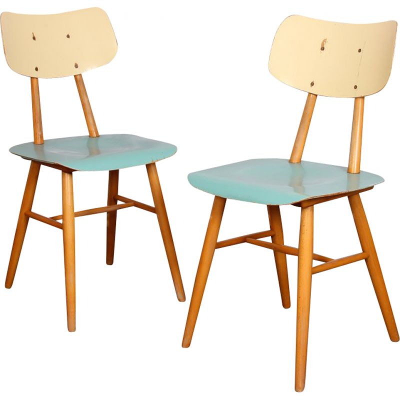 Pair of vintage wooden chairs by Ton 1960