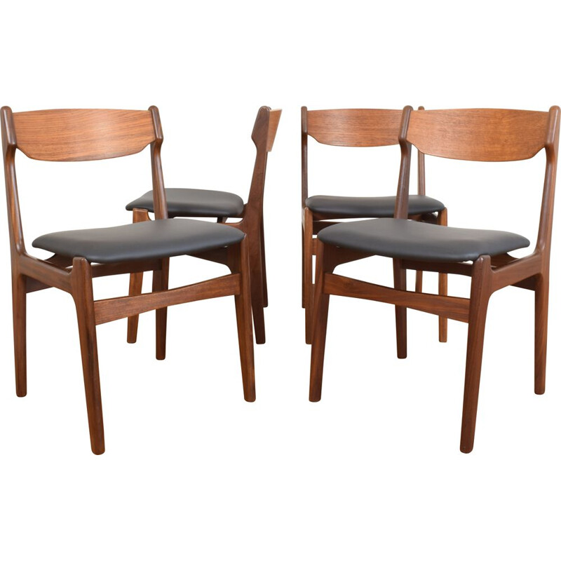 Set of 4 Mid-Century Danish Teak Dining Chairs by Erik Buch, 1960s