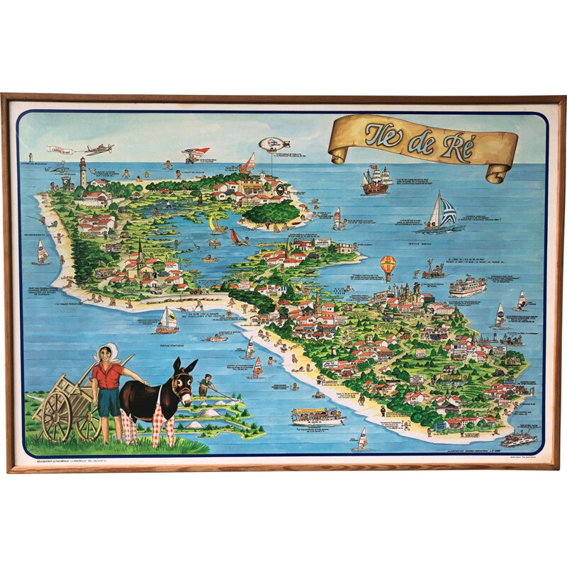 Large advertising poster vintage illustration ile de Ré 1983