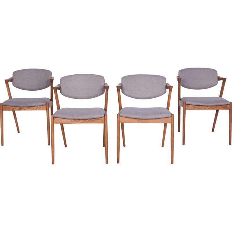 Set of 4 vintage Model 42 Oak Dining Chairs by Kai Kristiansen for Schou Andersen, 1960s