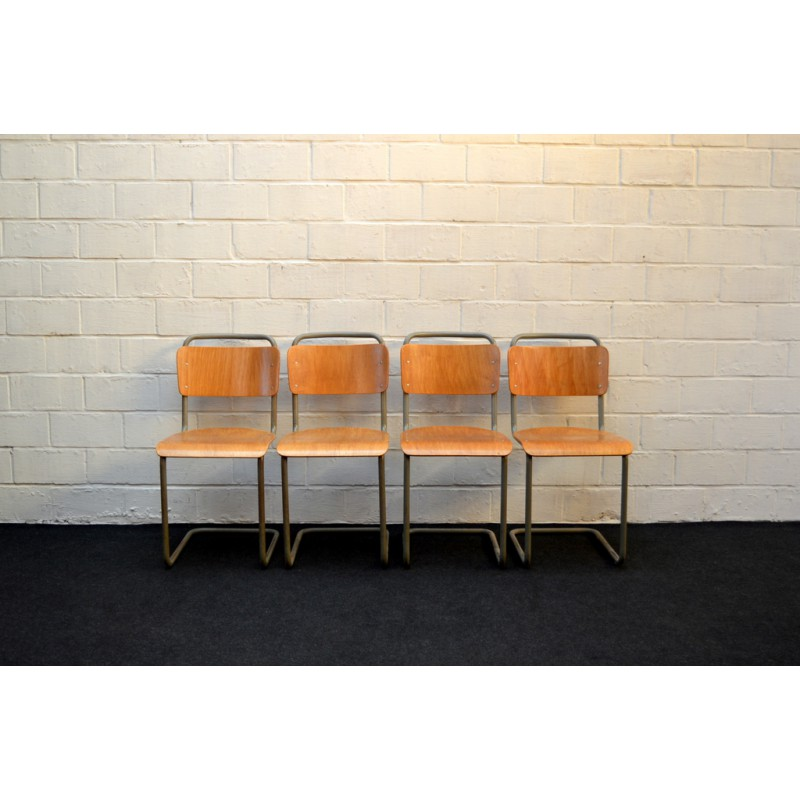 School Chairs In Metal And Wood 1950s Vintage Design Furniture Previous