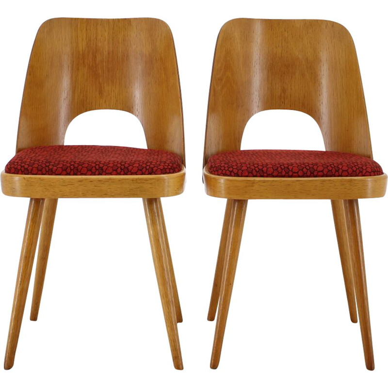 Pair of Vintage ThonThonet Oak Dining Chairs 1960s