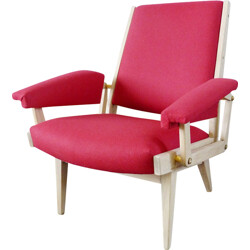 Mid century pink armchair in wood and wool flannel - 1950s