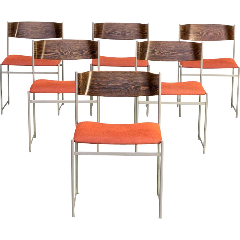 Set 6 vintage 'SM08' dining chairs  Cees Braakman for Pastoe 1960s