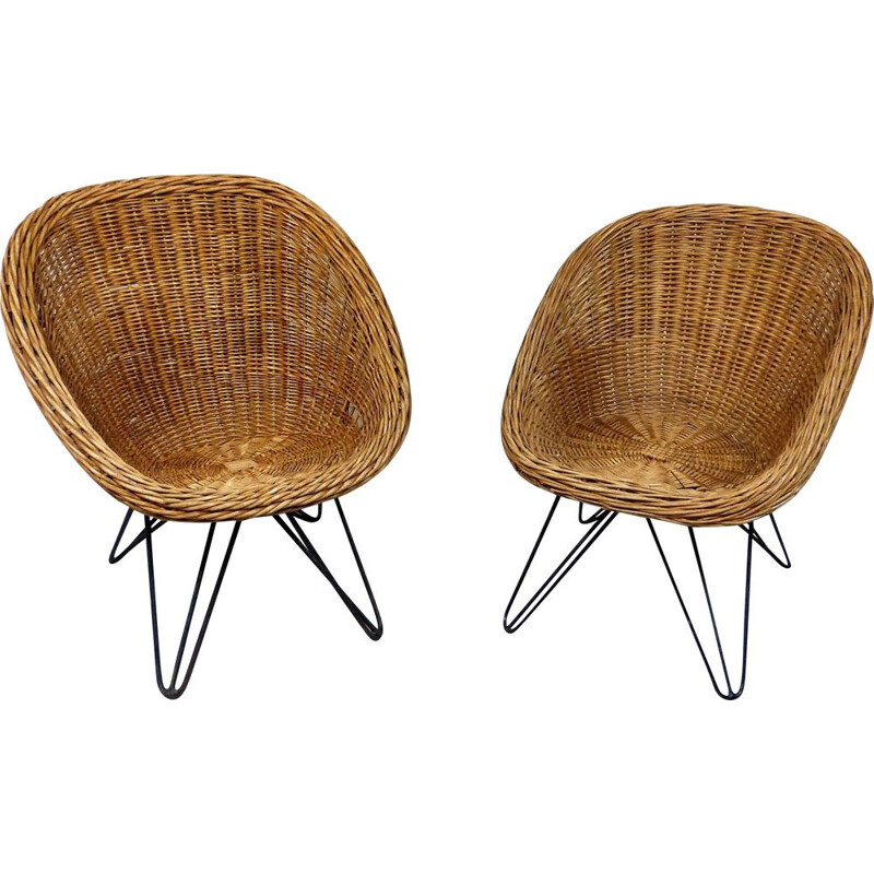Pair of vintage Cane Children Chairs with Hairpin Legs 1950's