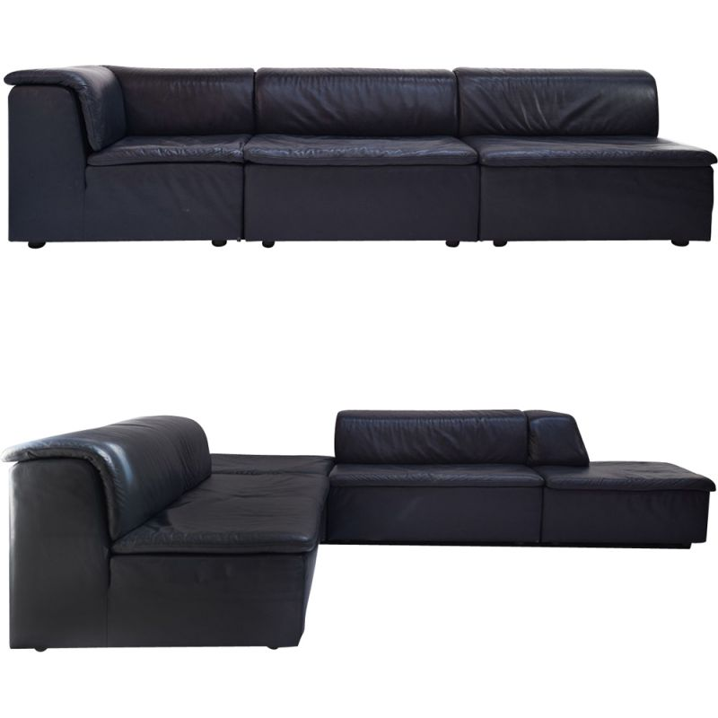 Extra Large vintage Modular Dark Blue Leather Lounge Sofa by Durlet Belgium, 1980s
