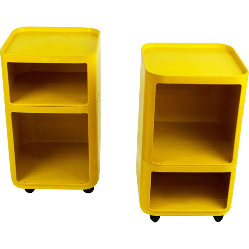 Pair of vintage Yellow Componibili Bar Trolleys by Anna Castelli for Kartell