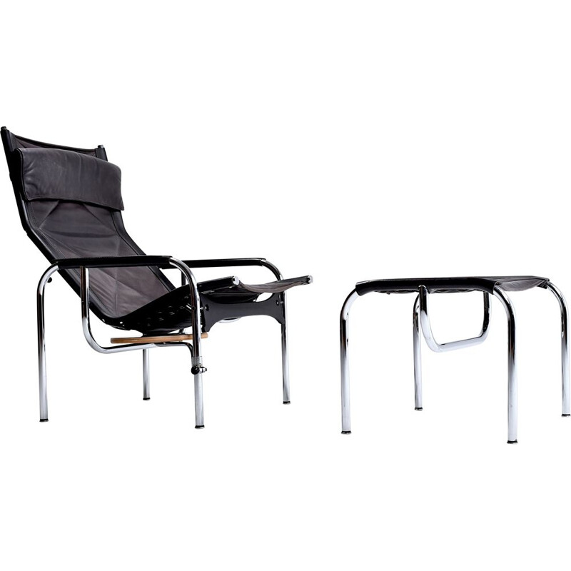 Vintage armchair and ottoman by Hans Heichenberger for Strässle 1960