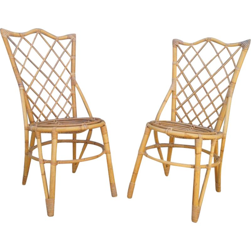 Pair of vintage rattan chairs Louis Sognot