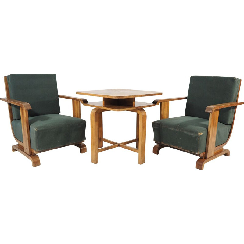 Pair of  armchairs plus a table Art Deco 1940s
