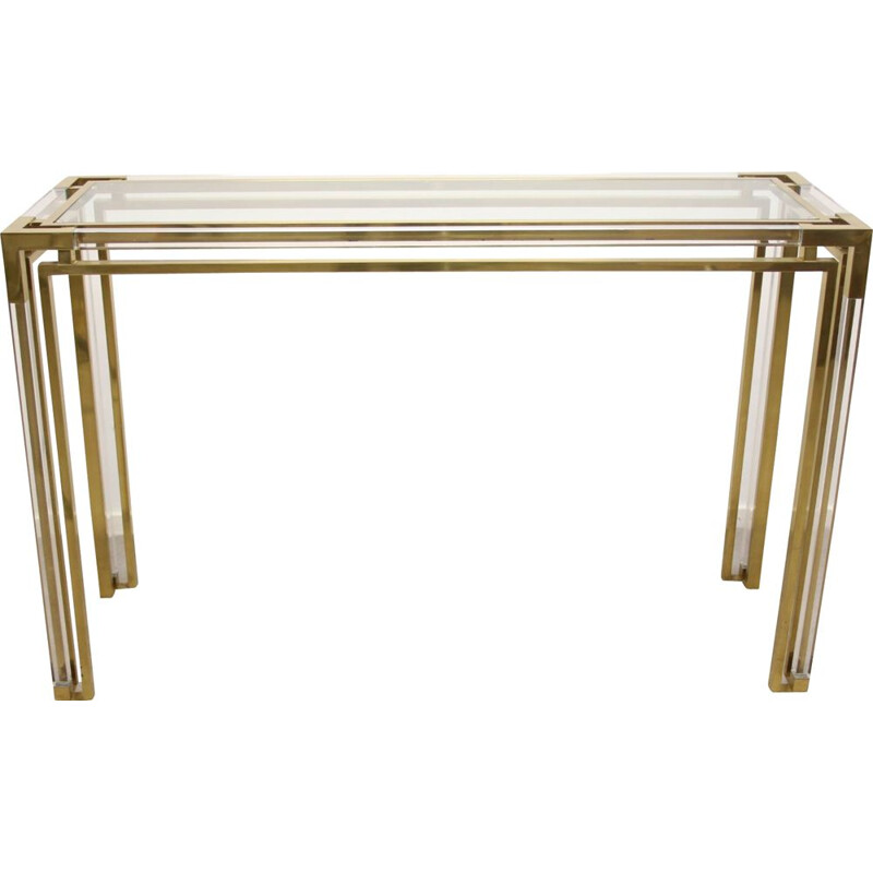 Vintage Golden plexiglass or lucite sidetable from Charels hollis jones 1980