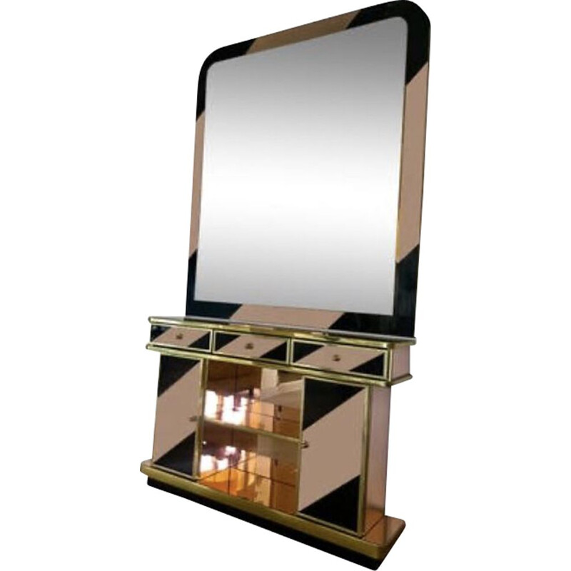 Vintage two-tone mirror and console set 1970