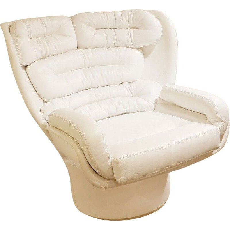 Vintage White Leather 'ELDA' Armchair by Joe Colombo 1970