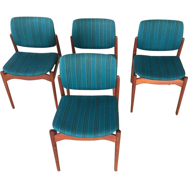 Set of 4 vintage Teak Captain Dining Chairs, Erik Buch 1960s