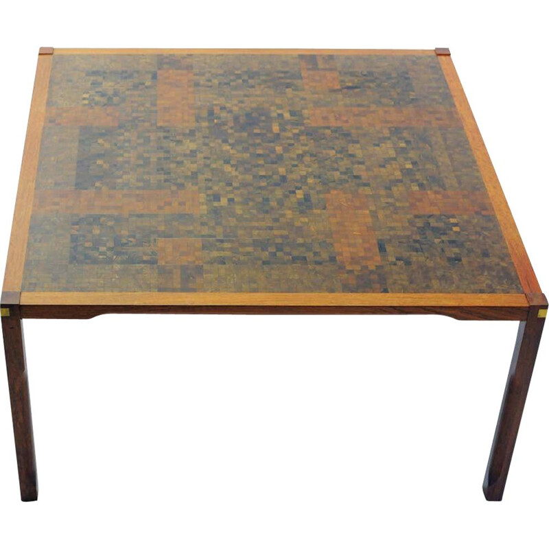 Vintage Coffee Table in Padouk with Mosaic Rolf Middelboe and Gorm Lindum Larsen 1970s