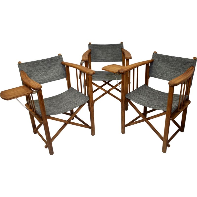 Set of 3 vintage folding director's chairs brand Clairitex 1950