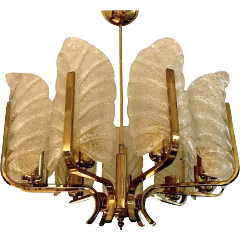 Vintage Carl Fagerlund chandelier by Orrefors with 9 Murano leaves 1960