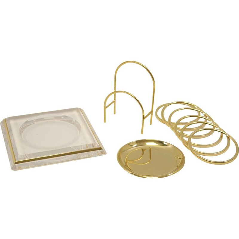 Vintage Plexiglass coasters and bottle holder with gold 1980s