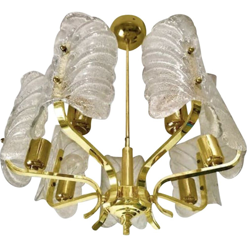 Vintage chandelier Carl Fagerlund by Orrefors de Murano 1960