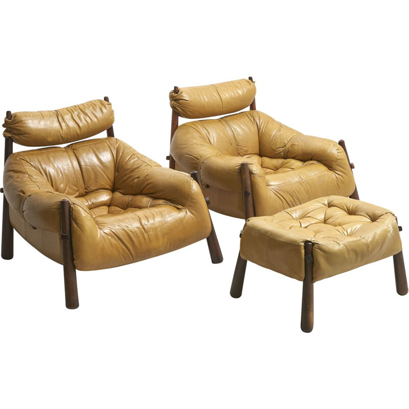 Pair of Vintage  Brazilian Lounge Chairs with Ottoman by Percival Lafer - 1960s