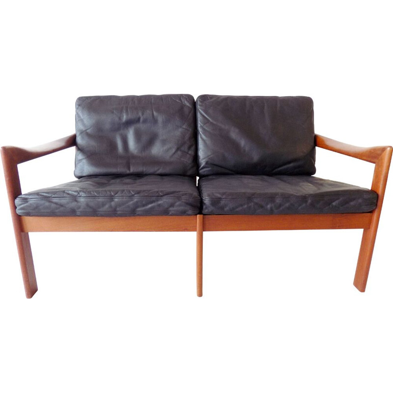 Vintage Teak 2 seater in black leather by Illum Wikkelso N.Eilersen Danish