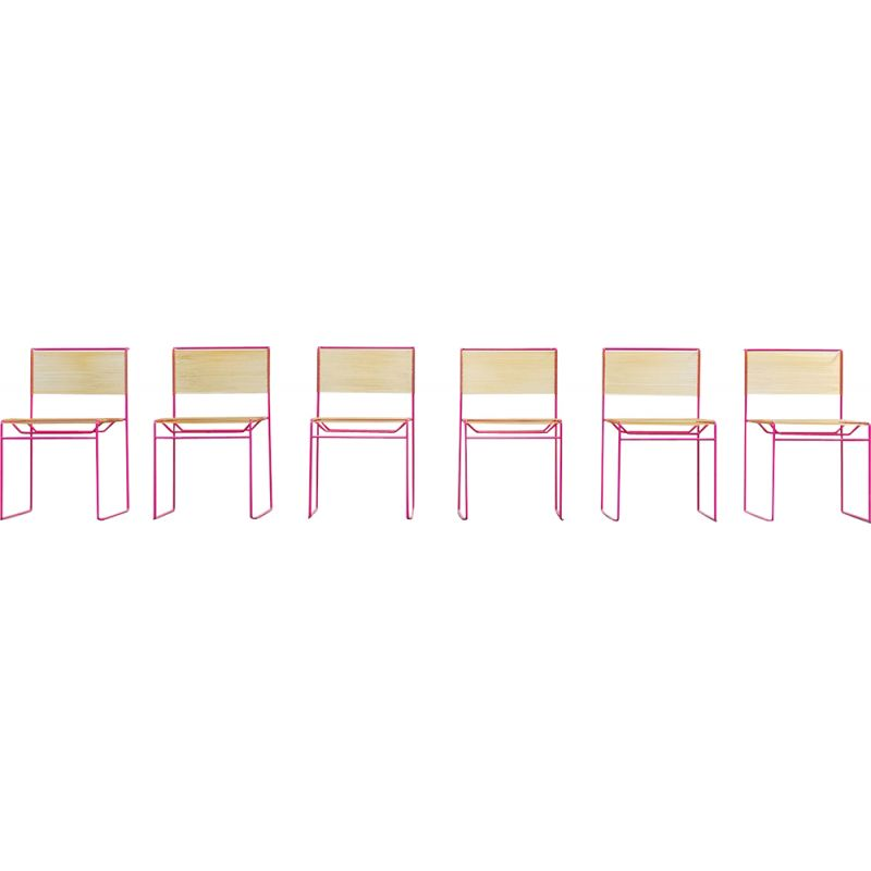 Set of 6 vintage pink dining chairs by Giandomenico Belotti for Fly Line, 1970