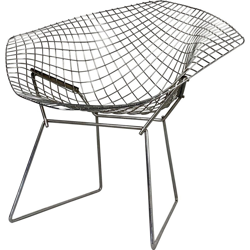 Vintage Chromed Diamond Chair by Harry Bertoia for Knoll, 1970s