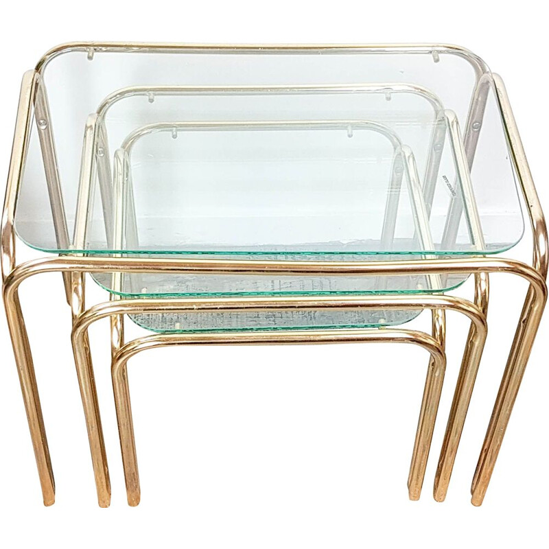 Set of 3 Vintage Art Deco style glass and brass nesting tables