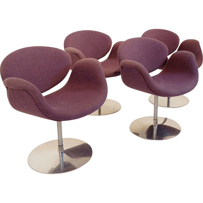 Set of 4 tulip vintage chairs By Pierre Paulin For Artifort, 1970